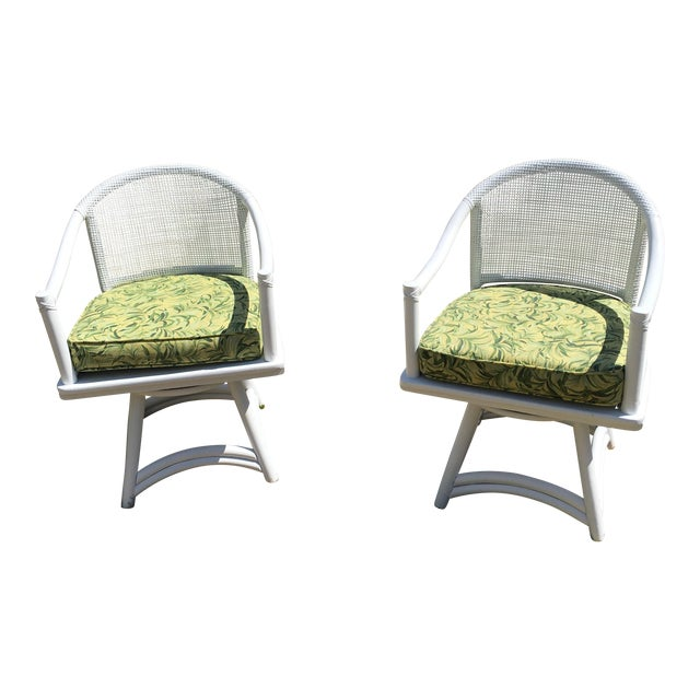 Ficks Reed Cane Swivel Chairs - A Pair - Image 1 of 10