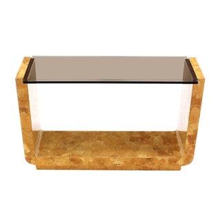 Burl Wood Smoked Smoked Glass Top U-Shape Console Table