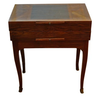Inlaid Game Table with Leather Top