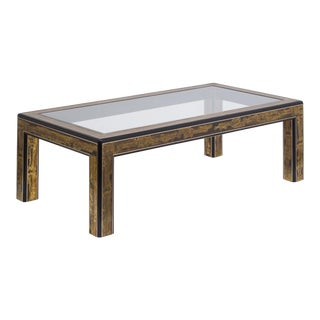A Mastercraft Acid Etched Brass and Ebonised Coffee Table 1970s