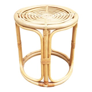 Vintage Bamboo Stool or Plant Stand