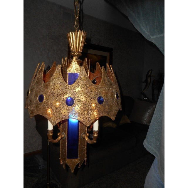 Gothic Style Pierced Metal & Cobalt Hanging Lamp - Image 5 of 6