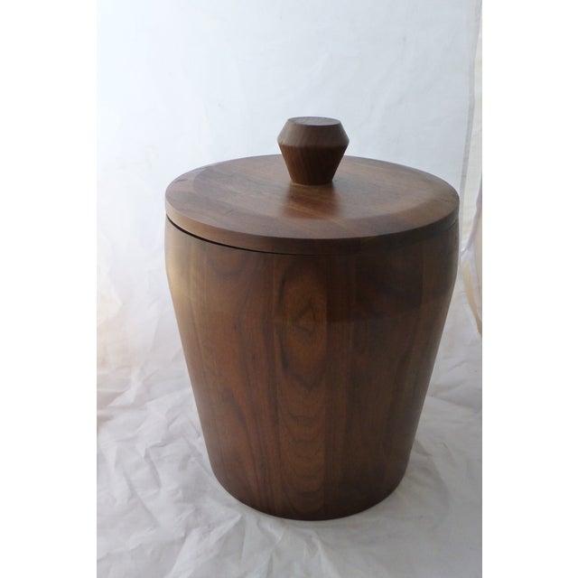 Mid Century Modern Large Walnut Ice Bucket - Image 7 of 7
