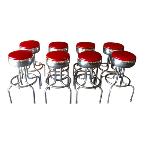 Mid-Century Chrome Diner Bar Stools- Set of 8 - Image 1 of 8
