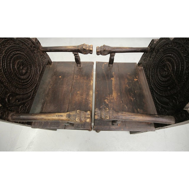 Antique Carved Wood Occasional Chairs - A Pair - Image 6 of 11