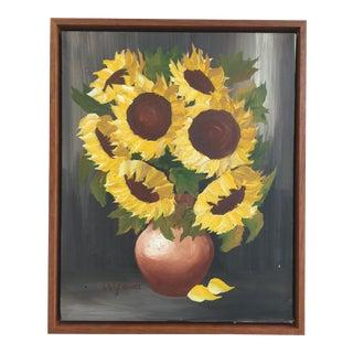 Sunflowers in Vase Vintage Framed Oil Painting