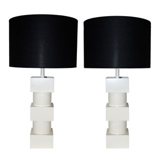 White Lacquered Geometric Lamps - A Pair