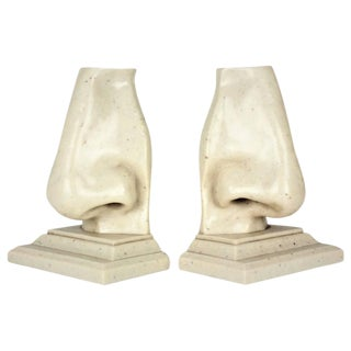 Large Surrealist Pop Art Marble Nose Bookends, Italy, 1970s