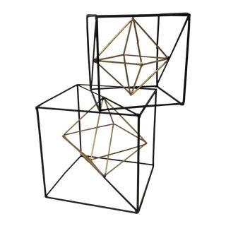 Geometric Metal Cube - Pair