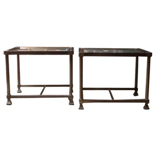 French Hollywood Regency Style Brass Tables - A Pair