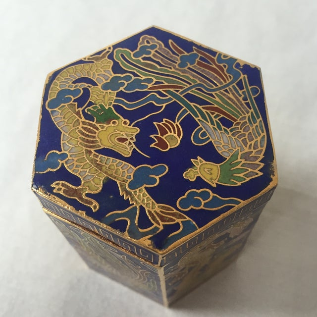 Vintage Cloisonné Hexagon Box - Image 4 of 5