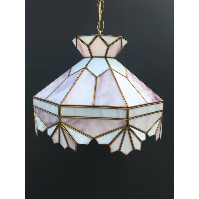 Image of Vintage Tiffany Style Large Stained Glass Swag Hanging Light Fixture