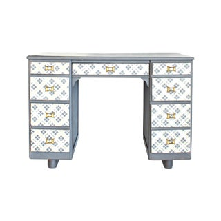 Mid-Century Tartan Plaid & Brass Painted Desk