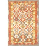 "Image of Vintage Turkish Anatolian Kilim Rug -4'5"" X 6'5"""