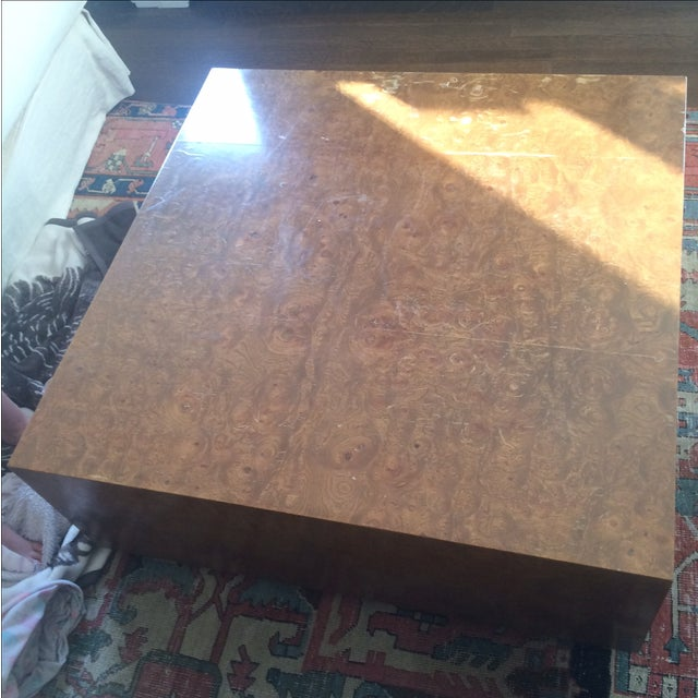 Mid-Century Burlwood Cube Coffee Table - Image 2 of 6