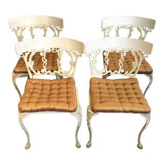 Cast Aluminum Klismos Garden Chairs - Set of 4