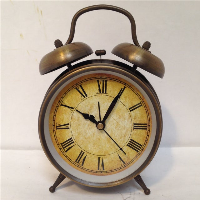 Antique Style Brushed Brass Alarm Clock - Image 2 of 9