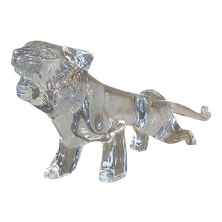 Daum France Crystal Tiger Figurine