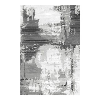Gray & White Abstract Area Rug Gray - 2'8''x 10'