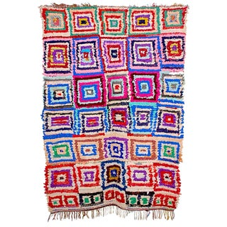 Moroccan Boucherouite Colorful Rug - 4'2 x 6'6''