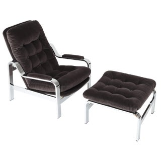 1970S SELIG RECLINING LOUNGE CHAIR AND OTTOMAN WITH CHROME FRAMES