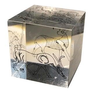 Mid Century Zodiac Lucite Paper Weight