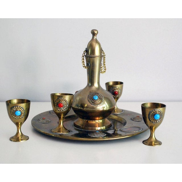 Middle Eastern Brass Drink Set - Set of 6 - Image 4 of 6