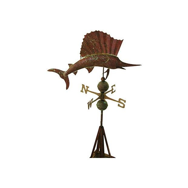Vintage Copper Sailfish Weathervane with Stand - Image 7 of 7