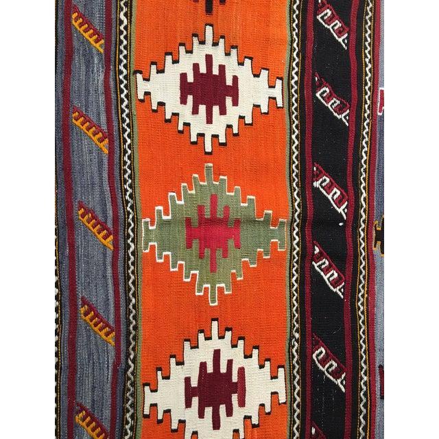 "Vintage Turkish Kilim Patterned Rug - 6'2""x11'3"" - Image 6 of 9"