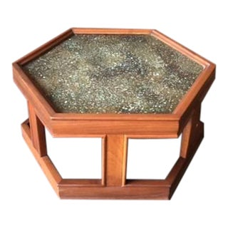 John Keal Walnut & Copper Enamel Table for Brown Saltman