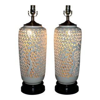 White Porcelain Lattice Lotus Flower Table Lamps - a Pair