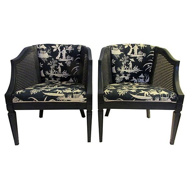 Image of Navy Barrel Chairs - A Pair
