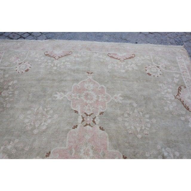 "Vintage Muted Turkish Oriental Rug Carpet - 10'11"" x 6'7"" - Image 4 of 10"
