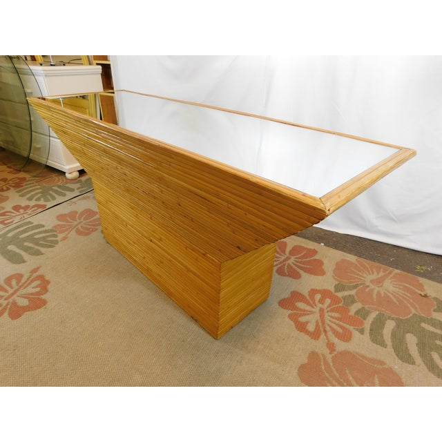Vintage Mid-Century Split Reed Mirror Top Console Table - Image 2 of 10
