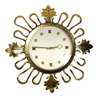 Semca Mid-Century Modern Bronze Sunburst Clock Made in Switzerland