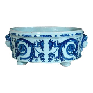 French Nevers Blue and White Faience Footed Basin.