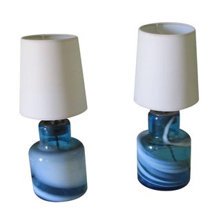 French Blue & White Swirling Glass Lamps - A Pair