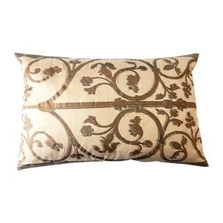Hand-Painted Silk Lumbar Pillow