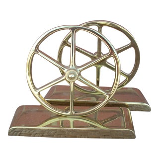 Brass Wheel Bookends - a Pair Made by Virginia Metal Crafters