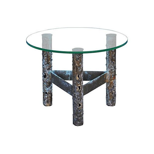 Image of Brutalist Metal & Glass Accent Table