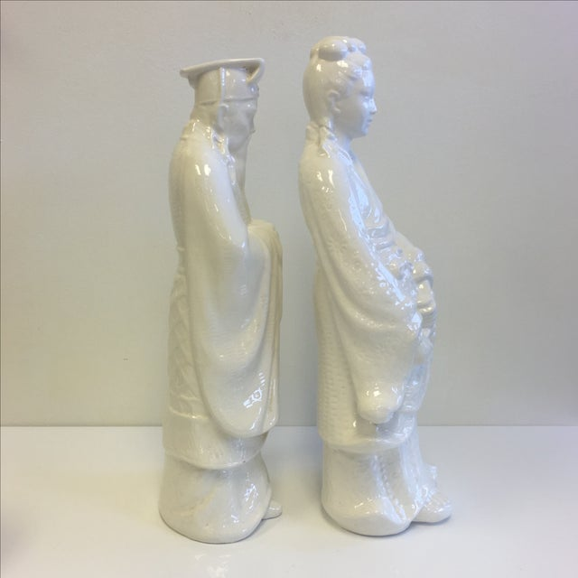 White Chinoiserie Statues - Pair - Image 4 of 11