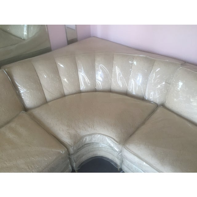 Mid-Century Modern Cream Floral Sectional - Image 4 of 6