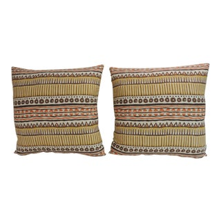 Pair of MOD Yellow and Orange Printed Decorative Pillows