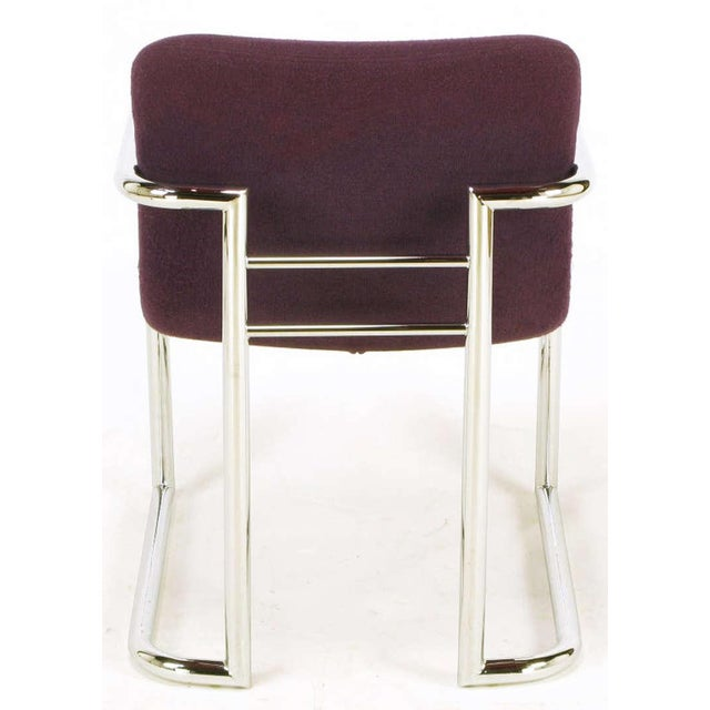 Pair Chrome & Violet Wool Sled Arm Chairs - Image 7 of 9