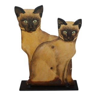 Pair of Painted Wood Siamese Cats