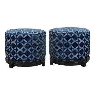 Vintage Blue Upholstered Round Ottomans - A Pair