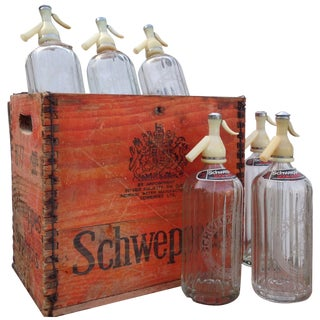 Vintage Schweppes Soda Water Wood Box & 6 Bottles