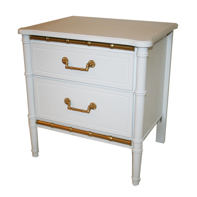Image of Henry Link White Faux Bamboo Nightstands - A Pair