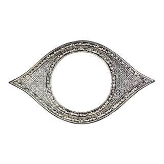 Handmade Moroccan White Brass Eye Mirror