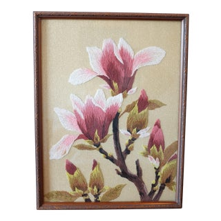 Vintage Framed Floral Crewel Work